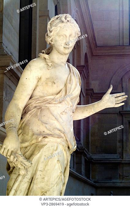 Simon Mazière. Compagne de Diane - Companion of Diana. XVIII th Century. Marble. French sculpture department - Cour Marly. Louvre Museum - Paris