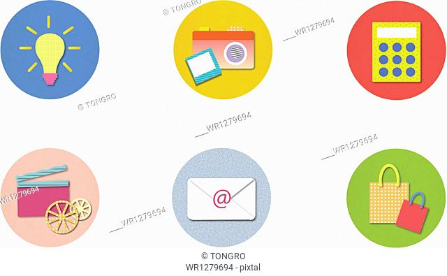 illustration of icons in colorful circles
