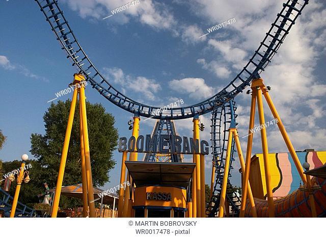 roller coaster Boomerang in Prater in Vienna
