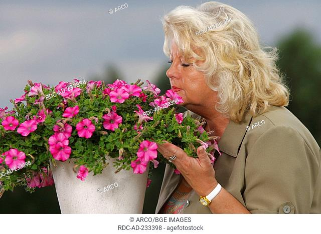 Woman smelling at petunia, Petunia hybride, flavour, side