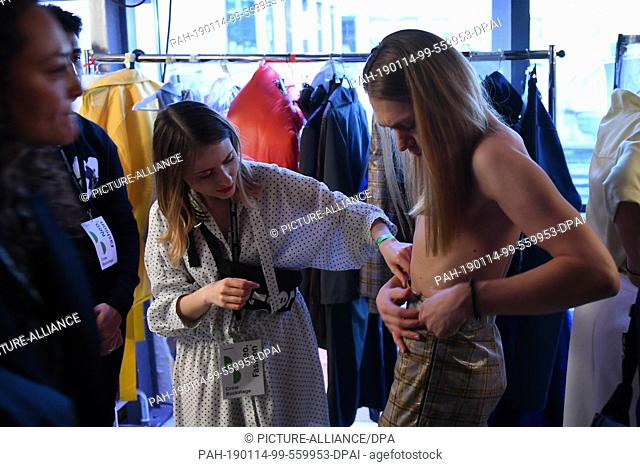 14 January 2019 Berlin In The Backstage Area Designers And Models Are Preparing For The Neo Stock Photo Picture And Rights Managed Image Pic Pah 190114 99 559953 Dpai Agefotostock