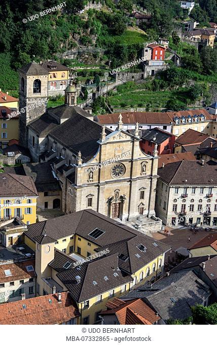 View of the city with Collegiate Church SS. Pietro e Stefano, Bellinzona, Ticino, Switzerland