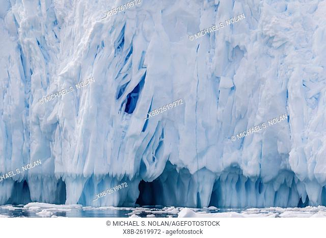 Tidewater glacier face detail in Neko Harbor, Antarctica