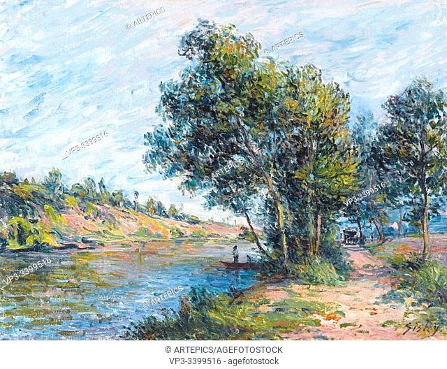 ALFRED SISLEY (1839 - 1899) - THE ROAD TO VENEUX AND THE SIDE OF THE HILL -1881