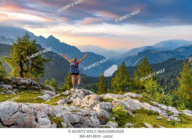 Hiker stretches arms into the air, view over Königssee from Feldkogel, left Watzmann Südspitze and Watzmann-Kinder, right Funtenseetauern, sunset