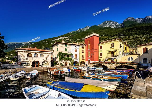 Italy, Veneto, Lake Garda, Cassone di Malcesine, harbour against Monte Baldo