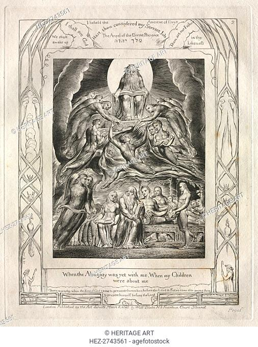 The Book of Job: Pl. 2, When the Almighty was yet with me, When my Children.., 1825. Creator: William Blake (British, 1757-1827)
