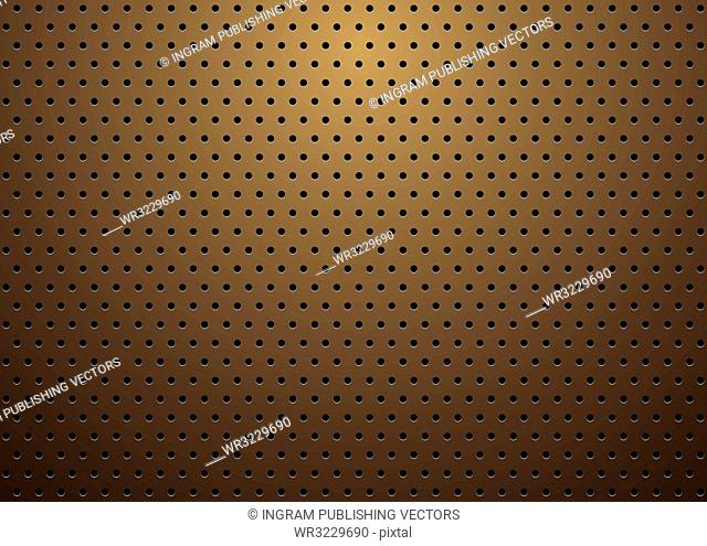 abstract bronze metal background with repeat hole design