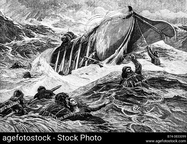 lifeboat capsizes during the last storms, the illustrated universe 1882, publisher new bookstore