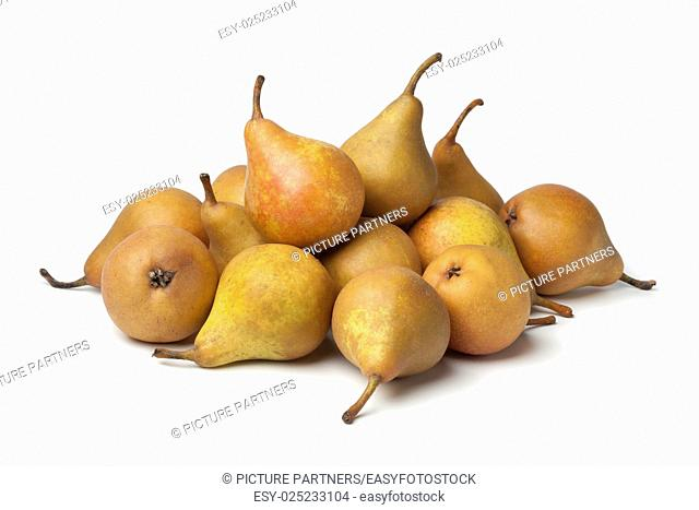 Fresh picked Gieser Wildeman pears on white background
