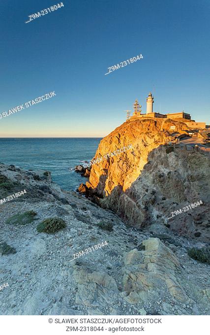 Sunrise at Cabo de Gata lighthouse, Nijar municipality, Almeria province, Andalusia, Spain