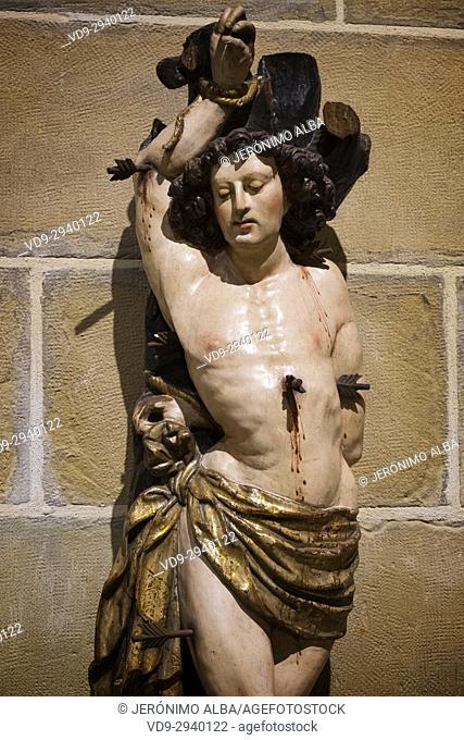 San Sebastian sculture. Museo Diocesano, Santa María del Coro Basilica church, Baroque style, Old Town, San Sebastián, Donostia, Guipuzcoa, Basque Country