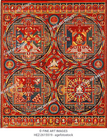 Sakya order. Four Mandalas of the Vajravali Series (Thangka). Artist: Tibetan culture