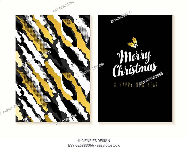 Merry Christmas and Happy new year card template set with retro 80s style seamless pattern and trendy holiday text in gold metallic color