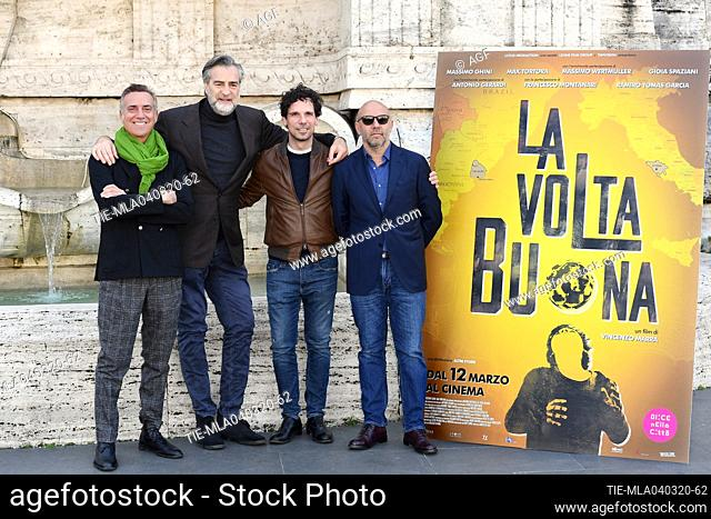 Vincenzo Marra, Massimo Ghini, Max Tortora, Francesco Montanari during 'La volta buona' film photocall, Rome, 04/03/2020