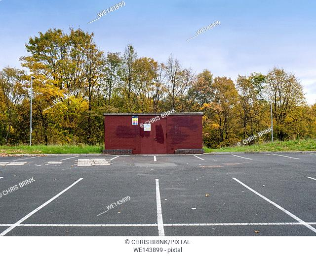 Empty parking lot with electricity building in Winsford, Cheshire, UK
