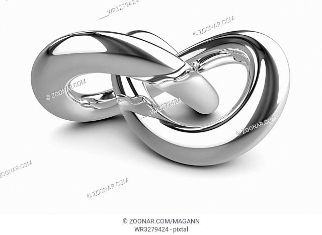 3d illustration of a stylish chrome knot
