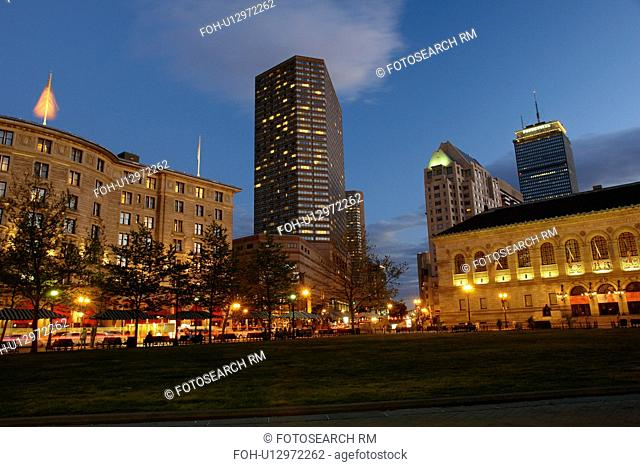 Boston, MA, Massachusetts, Downtown, skyline, evening, Boston Pops