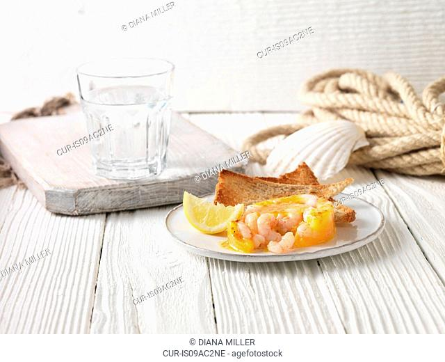 Potted prawns with wholemeal toast and lemon