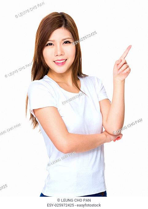 Young woman showing finger point up