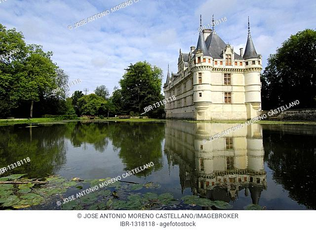 Azay-le-Rideau Chateau, Castle of Azay-le-Rideau, built from 1518 to 1527 by Gilles Berthelot in Renaissance style, Loire Valley, Indre et Loire province