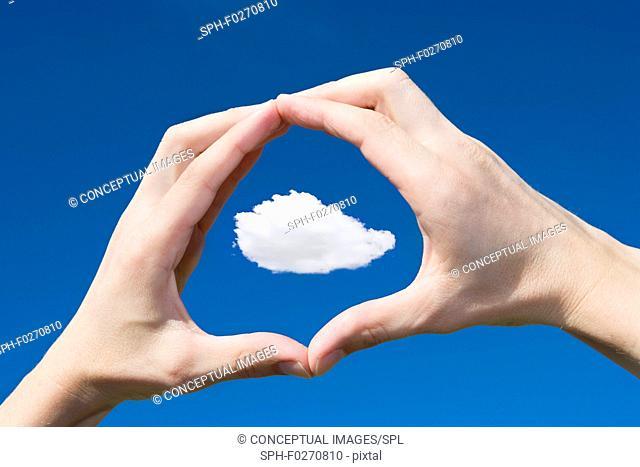 Cloud framed in hands