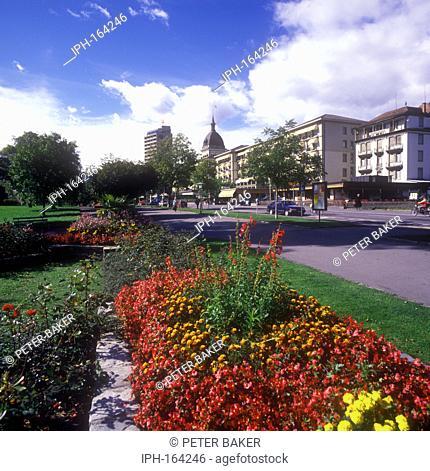 Colourful gardens in the popular tourist destination of Interlaken
