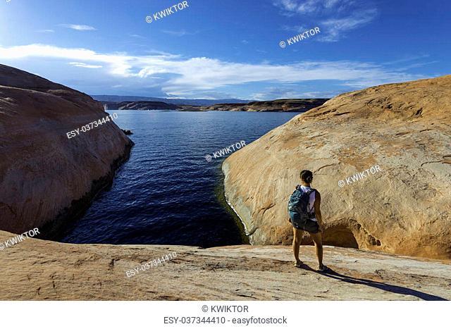 Female Hiker Backpacker near lake Powell Utah
