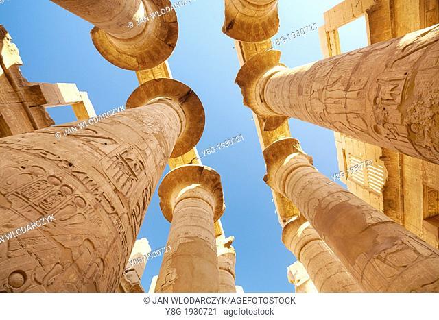 Egypt - Hypostyle Hall in Amun-Re Temple, Karnak, Upper Egypt