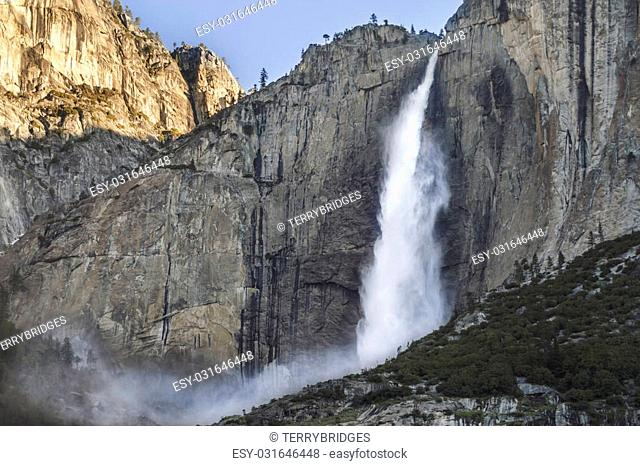 Yosemite Falls in the spring with heavy flows of water from melting runoff