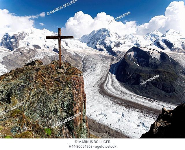 The Alps, Christianity, Christ, Christ's cross, ice, summit cross, faith, glacier, glacier scenery, Gornergrat, sky, Hochgebirge, Catholicism, cross, scenery