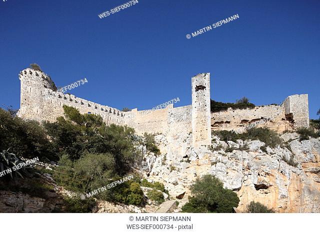 Spain, Balearic Islands, Majorca, Felanitx, View of castell de santueri