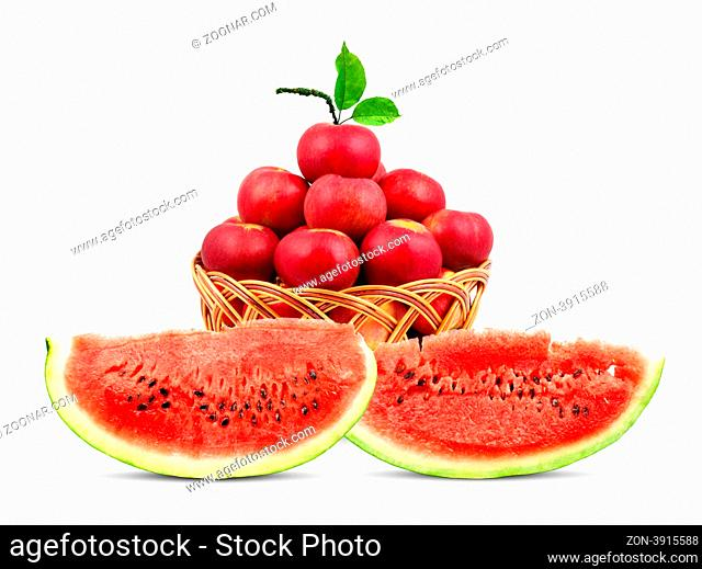 Watermelon and apples isolated on a white background