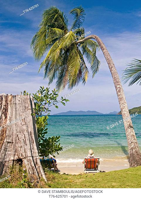 relaxing under a coconut palm, Koh Mak, Thailand