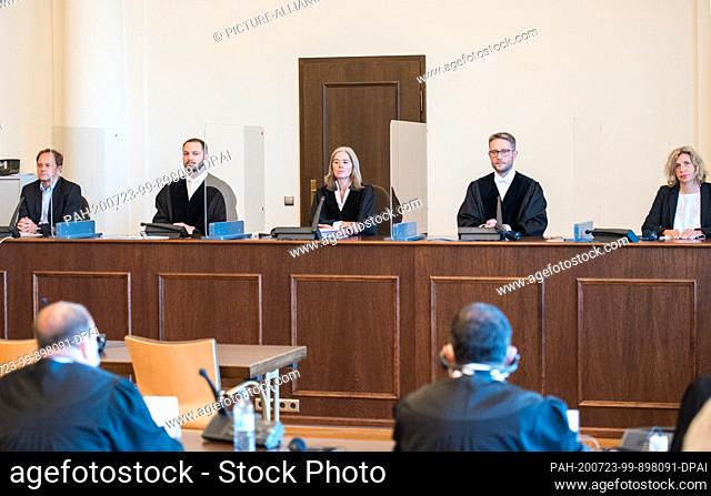 23 July 2020, Hamburg: The presiding judge Anne Meier-Göring (M) in the trial against a 93-year-old former SS guard of the Stutthof concentration camp near...