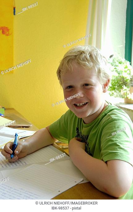 Boy with the homework