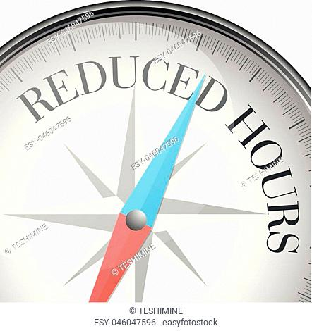 detailed illustration of a compass with reduced hours text, eps10 vector
