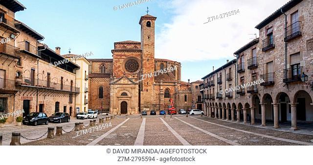 Santa María la Mayor Cathedral and Plaza Mayor, Main Square, Sigüenza, Guadalajara province, Castile La Mancha, Spain. Historical Heritage Site