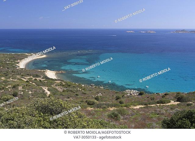 Top view of the bay and turquoise sea around the sandy beach of Cala Pira Castiadas Cagliari Sardinia Italy Europe