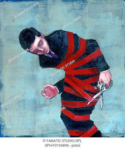 Illustration of a tied up businessman cutting red tape