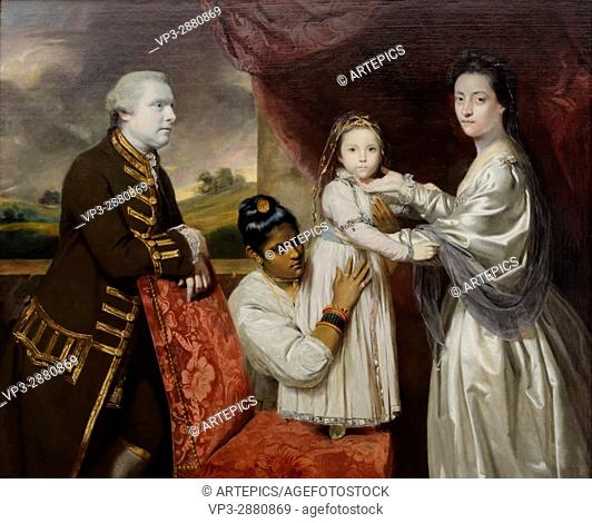 Sir Joshua Reynolds - George Clive and his family and an Indian servant - 1765 - XVIII th Century - British School - Gemäldegalerie - Berlin