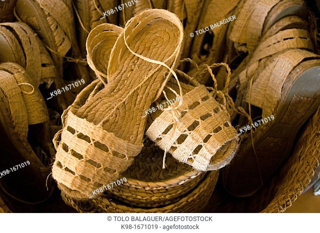 Typical handicrafts in esparto, Sant Miquel de Balansat, Es Amunts, Balearic islands Ibiza, Spain