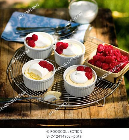 Lemon goat's cheese soufflés with raspberries