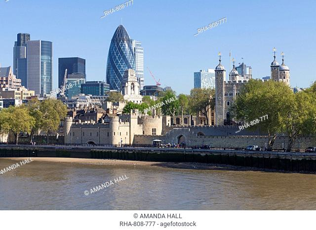 City of London financial district buildings and the Tower of London, London, England, United Kingdom, Europe