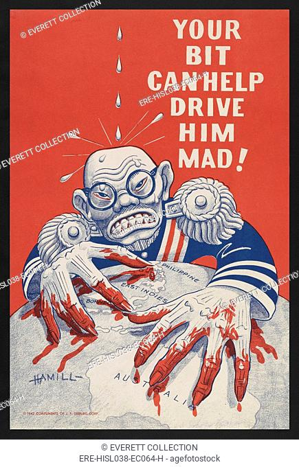Caricature of Emperor Hirohito with bloody fingers grasping on a globe as water drips on his head. The U.S. World War 2 propaganda poster encourages civilians