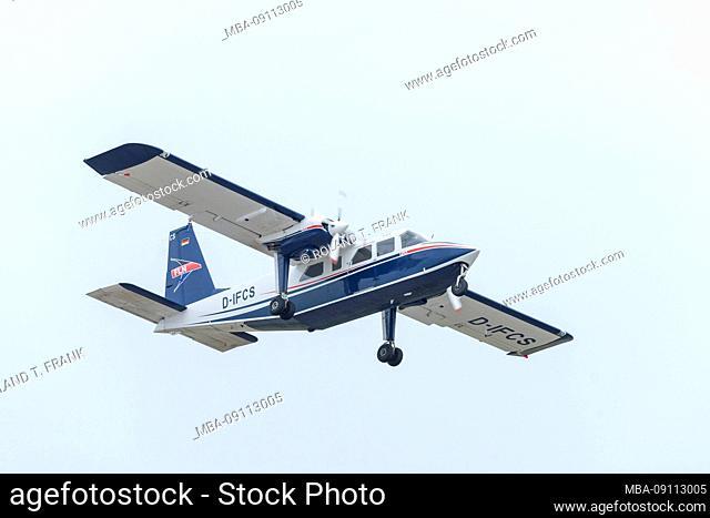 Germany, Lower Saxony, East Frisia, Juist, airfield, FLN FRISIA-Luftverkehr GmbH Norddeich. Plane: Britten-Norman BN Islander