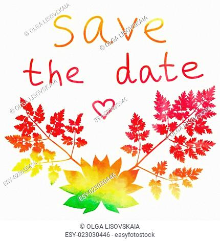 Save the date card. Watercolor rainbow