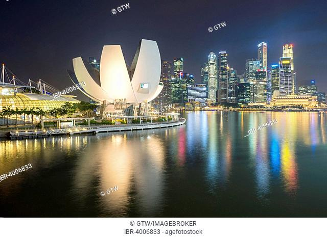 Art and Science Museum and downtown central financial district at night, Singapore