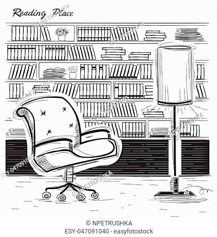 Interior reading room with arm chair and books.Vector black sketchy illustration isolated on white