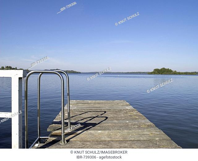 Swimming dock at Schaalsee (Schaal Lake) near Zarrentin, Mecklenburg-Western Pomerania, Germany